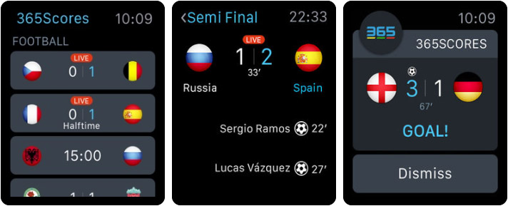 365Scores Apple Watch Sports App Screenshot