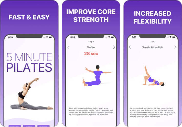 5 minute pilates workout iphone and ipad stretching app screenshot