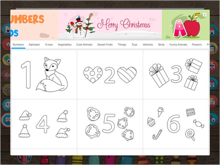 500 plus educational coloring pages and stickers in Drawing Desk iOS app