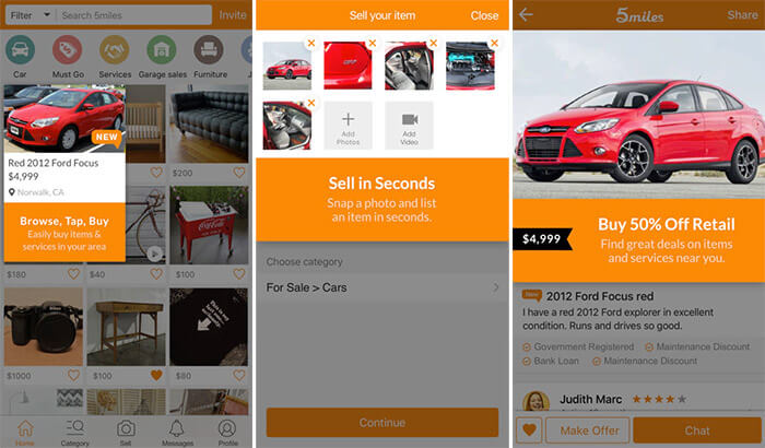 5miles iPhone and iPad Car Buying App Screenshot