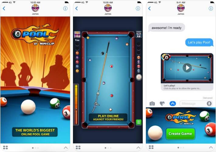 8 Ball Pool iMessage Game App Screenshot