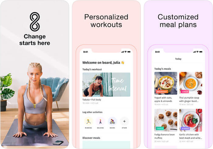 8fit Workouts and Meal Planner iPhone and iPad Dieting App Screenshot