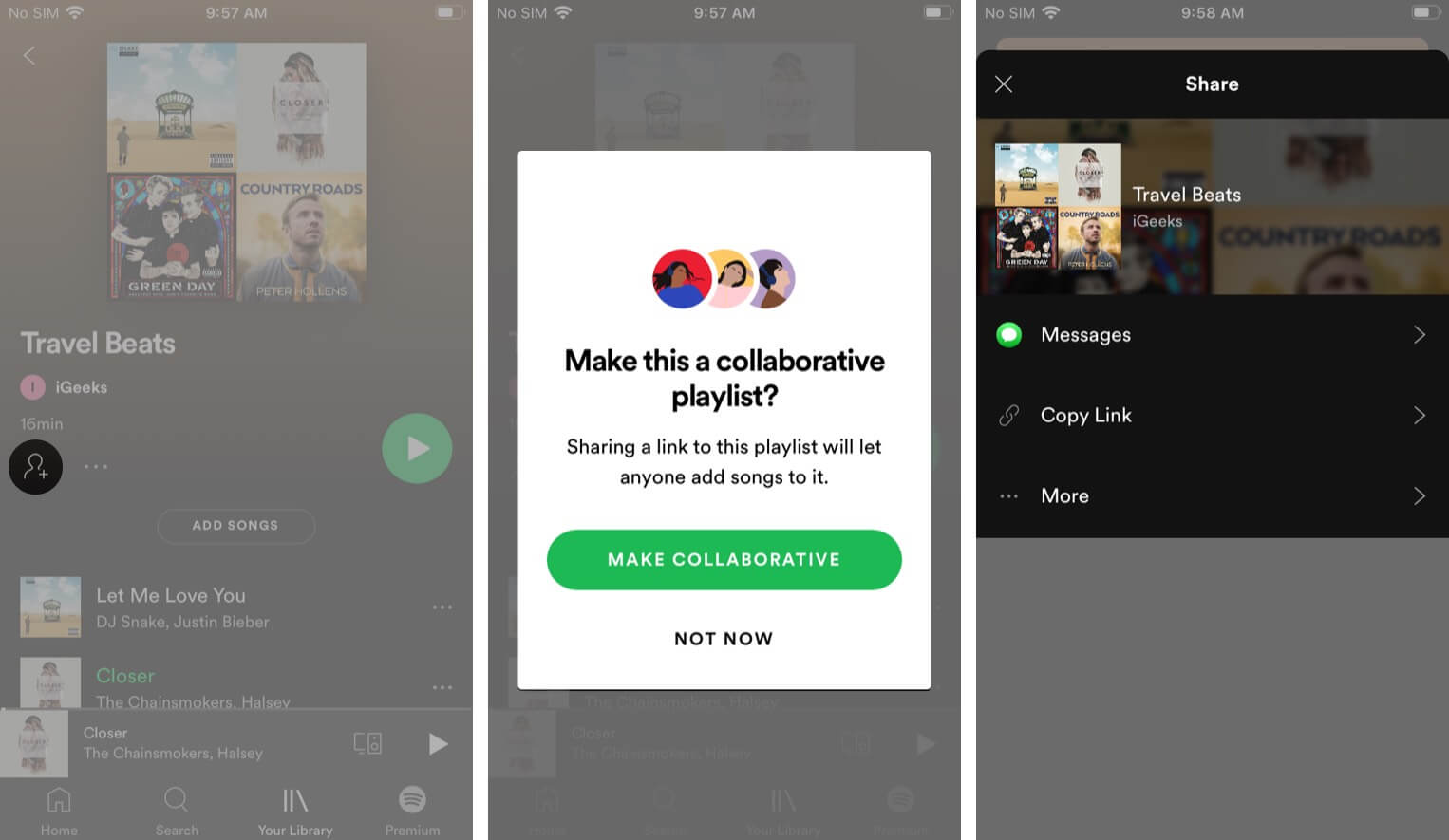 A collaborative Spotify playlist on iPhone