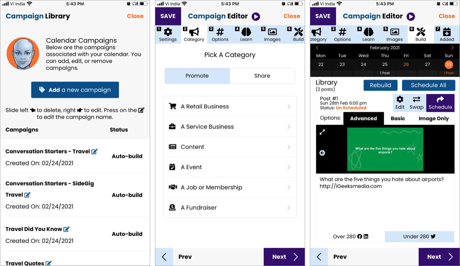 AIMI iOS app works according to campaigns