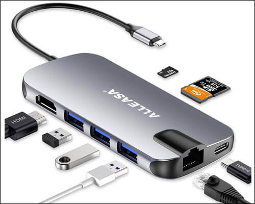 ALLEASA USB C Hub 8 in 1 Adapter for Macbook Pro