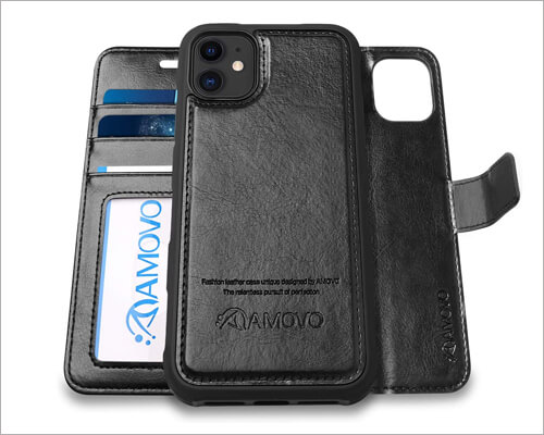 AMOVO iPhone 11 Wallet Case with Magnetic Closure