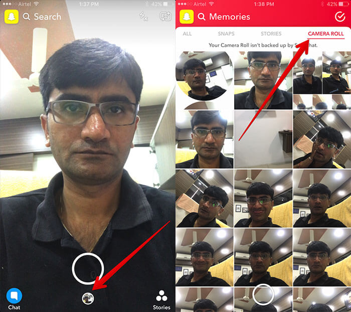 Access Camera Roll Photos in Snapchat Memories