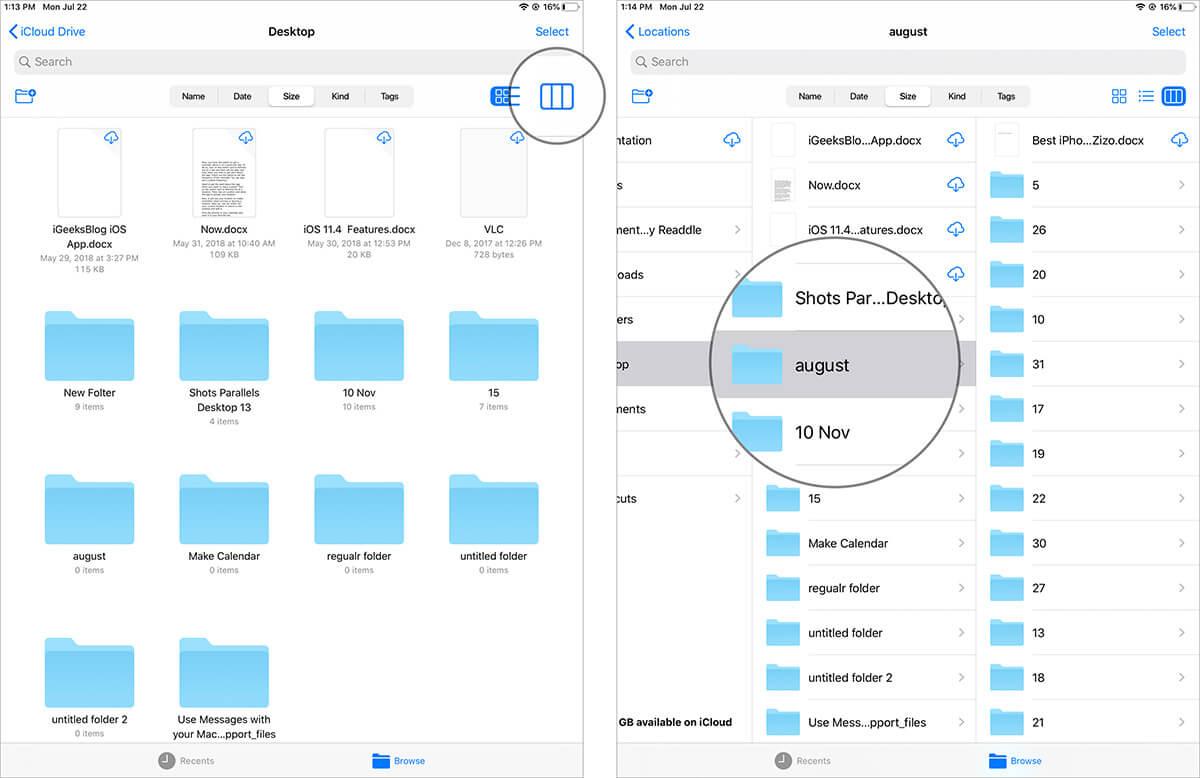 Access Column View in iPadOS Files App