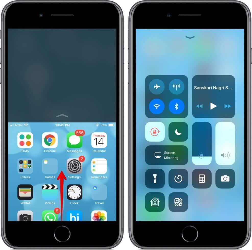 Access Control Center while using Reachability on Touch ID iPhone
