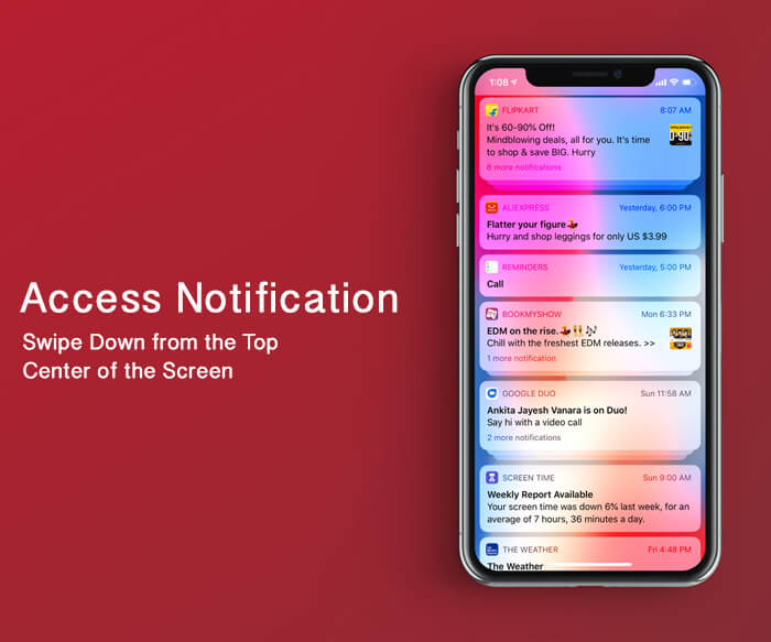 Access Notification Center on iPhone X, Xs, Xs Max, and XR
