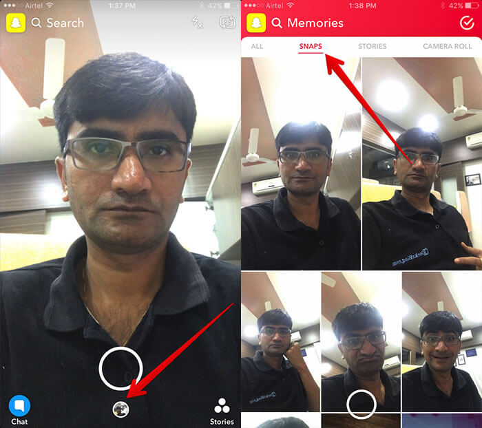 Access Snaps in Snapchat Memories on iPhone