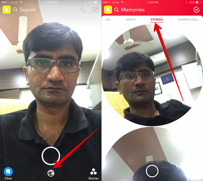 Access Stories in Snapchat Memories on iPhone