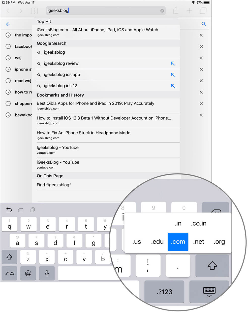 Access Top Level Domain Keyboard Shortcut in Safari for iPad