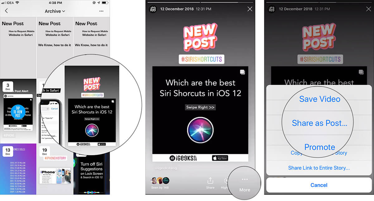 Access and Retrieve Archived Instagram Photo and Story on iPhone