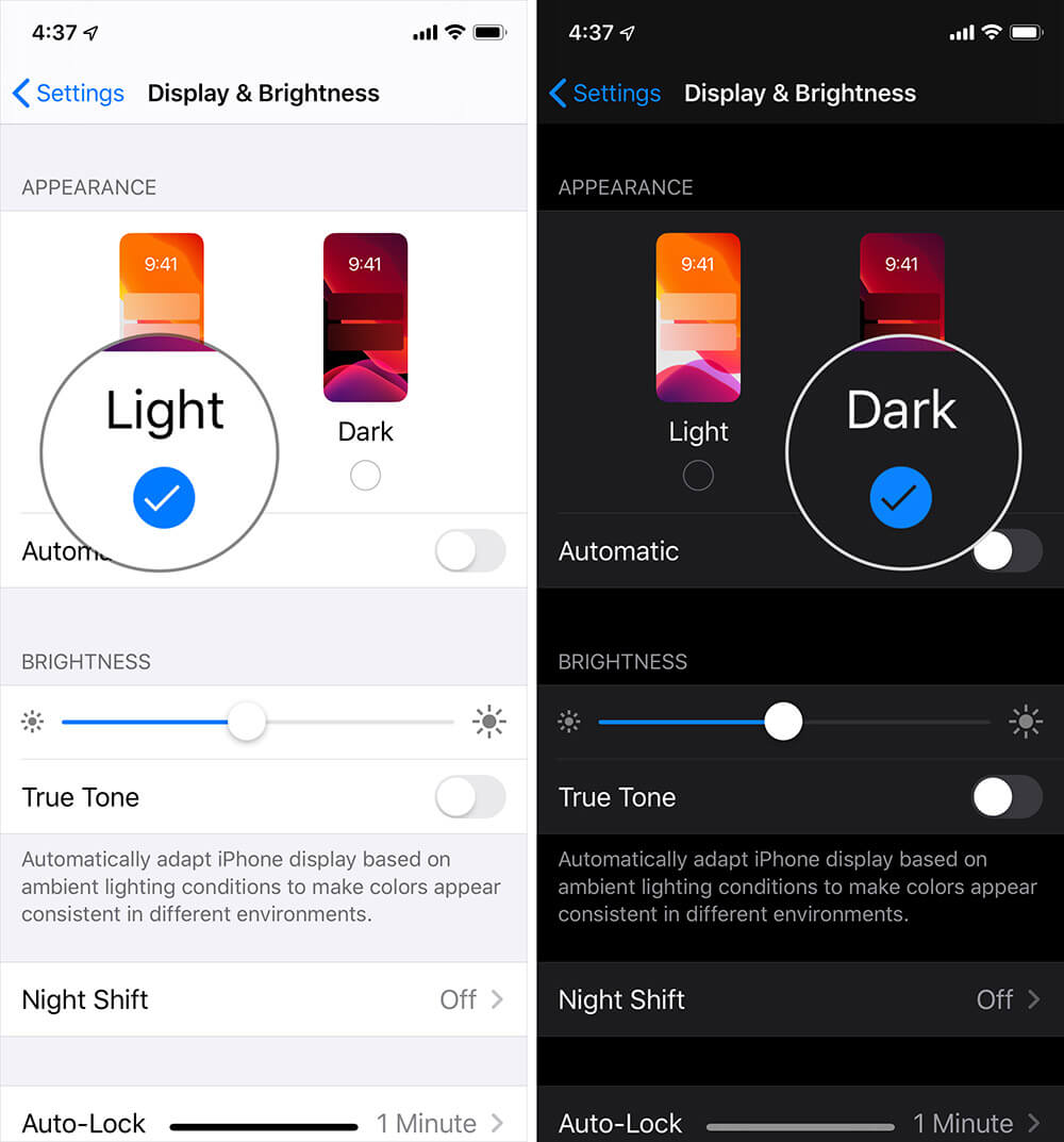 Activate Dark Mode on iPhone or iPad
