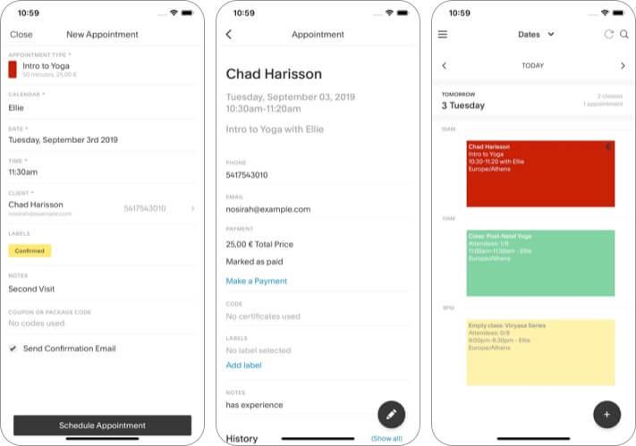 Acuity Schedule best iPhone business app screenshot