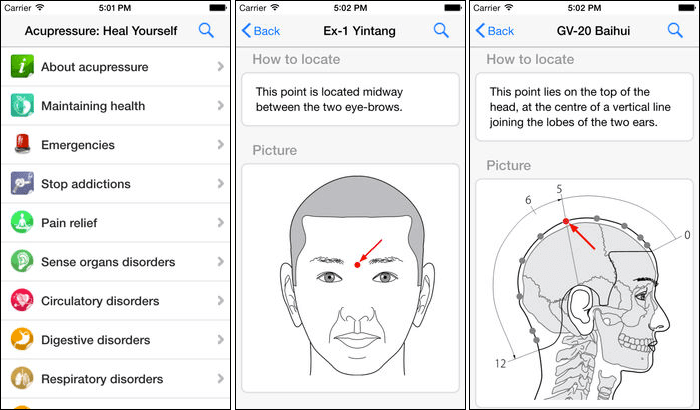 Acupressure Stress-Relieving iPhone and iPad App Screenshot