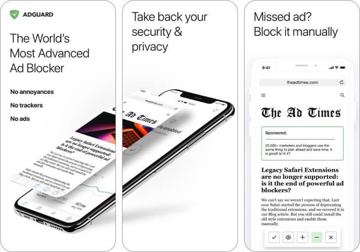 AdGuard best ad blocker app for iPhone screenshot