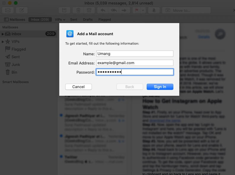 Add Account in Mail App on Mac