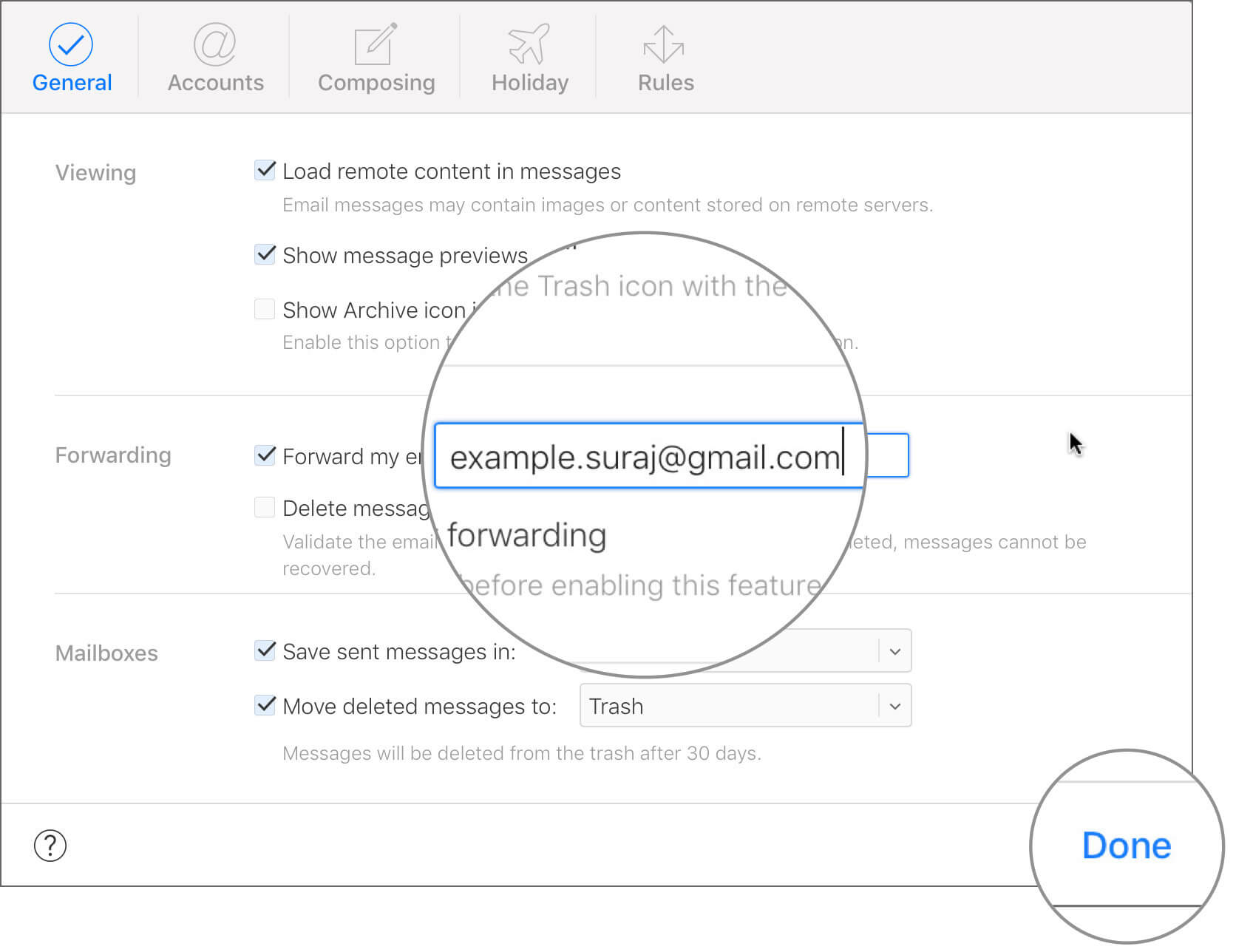Add Another Email Account to automatically Forward iCloud Email