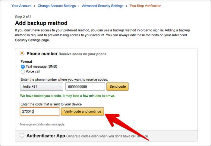 Add Backup Metod for Amazon Verification