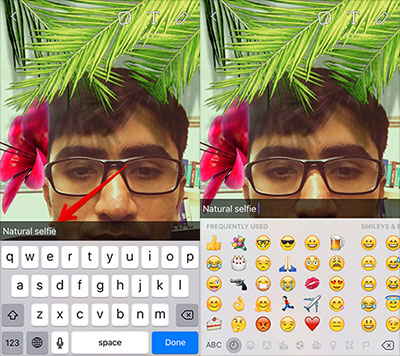 Add Caption and Emoji to Snapchat Selfie on iPhone