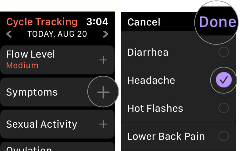 Add Cycle Symptoms to Cycle Tracking on Apple Watch in watchOS 6