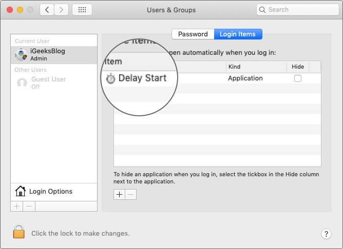 Add Delay Start App in Login Items on Mac
