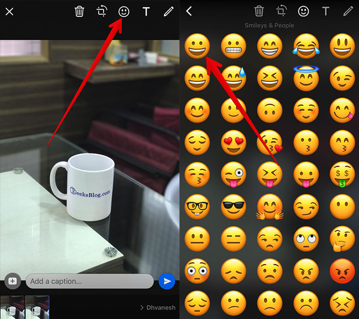 Add Emoji on Photo or Video in WhatsApp on iPhone