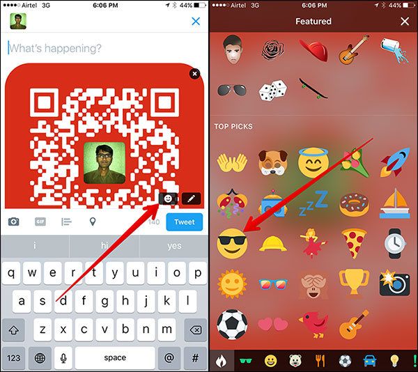 Add Emoji to QR Code in Tweet on iPhone