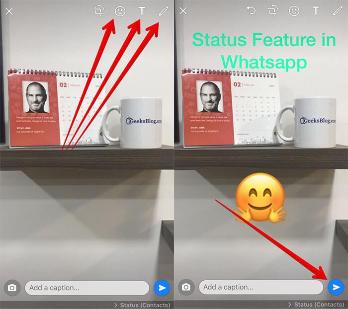 Add Emoji to WhatsApp Photo on iPhone