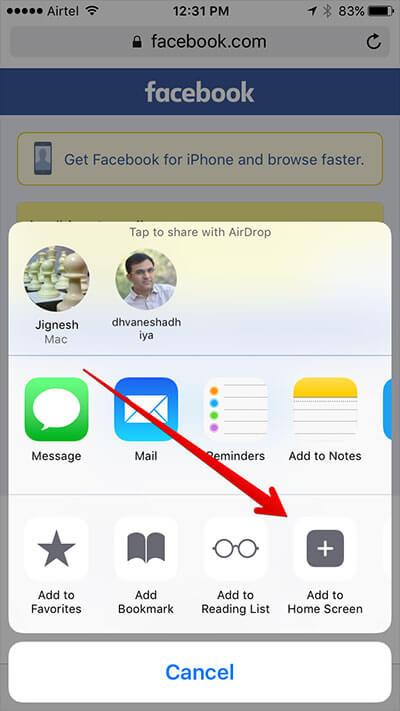 Add Facebook Web Shortcut to iPhone Home Screen