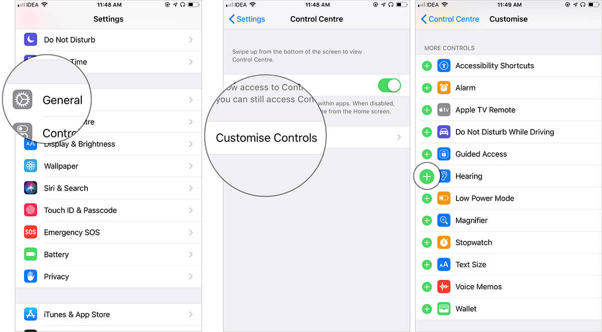 Add Hearing to Control Centre on iPhone