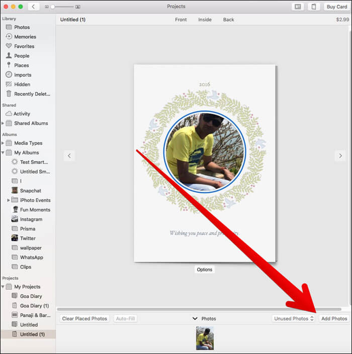 Add Images to A Card In Photos App on Mac