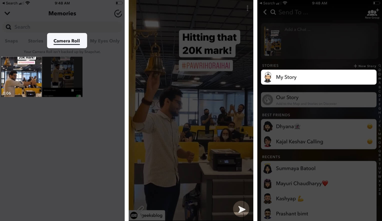 Add Instagram Stories to Snapchat on iPhone