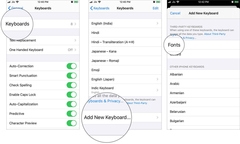 Add Installed Custom Fonts to iPhone or iPad Keyboard