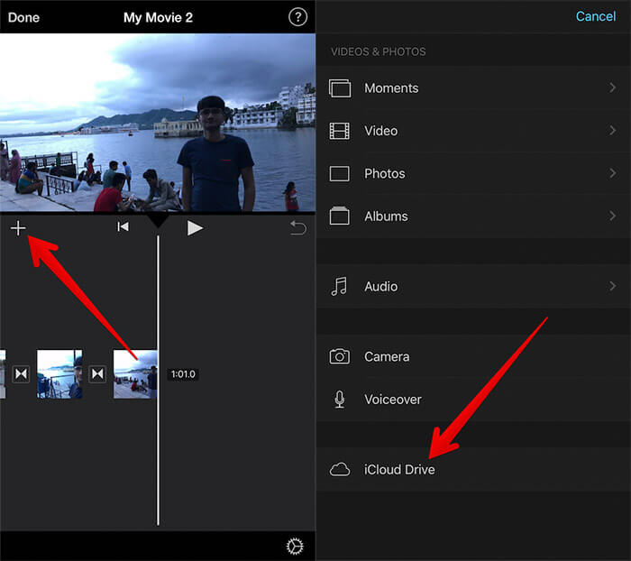 Add Music in iMovie from iCloud Drive on iPhone