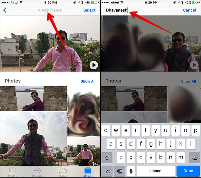 Add Name to People Album in iOS 10 Photos App