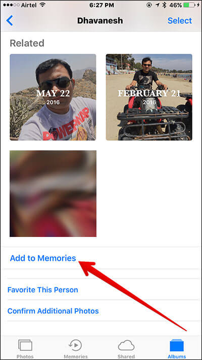 Add People Albums to Memories in iOS 10