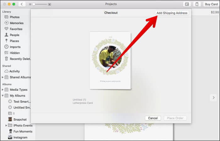 Add Shipping Address in Mac Photos App