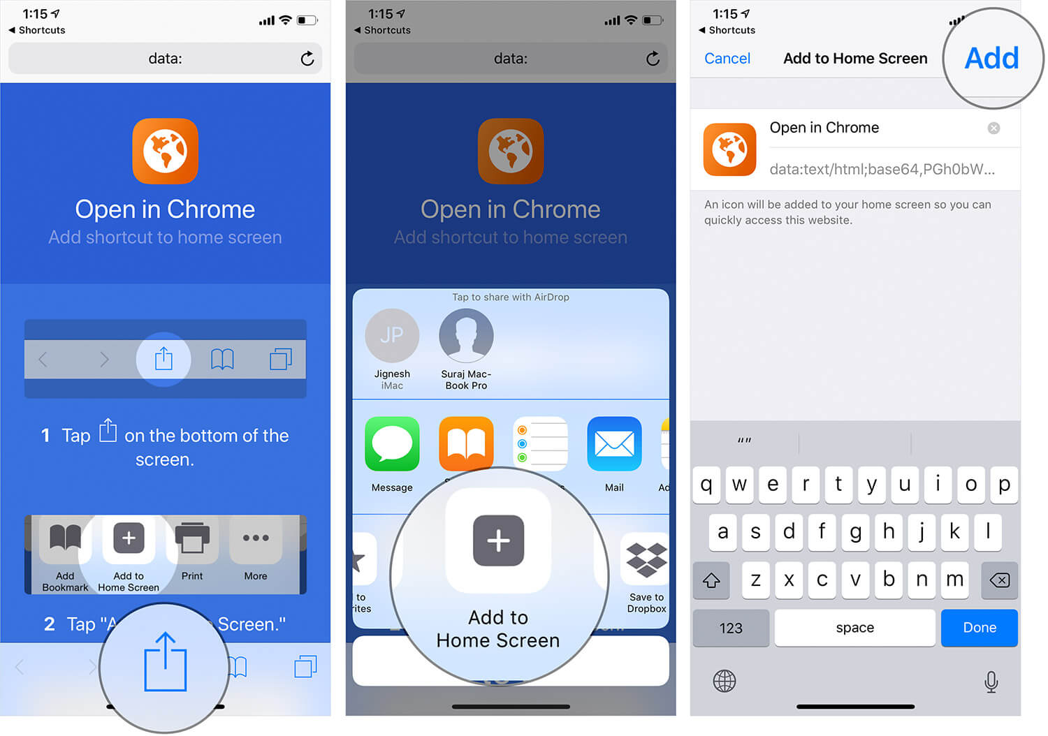 Add Shortcut to Home Screen on iPhone or iPad