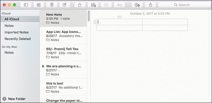Add Table to Notes App on Mac