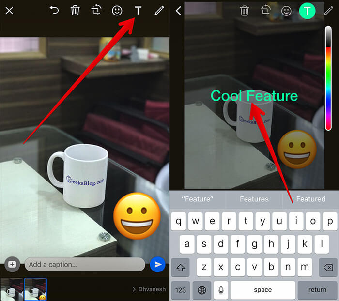 Add Text on WhatsApp Photo on iPhone