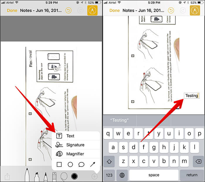 Add Text to Documents in Notes App on iPhone and iPad in iOS 11