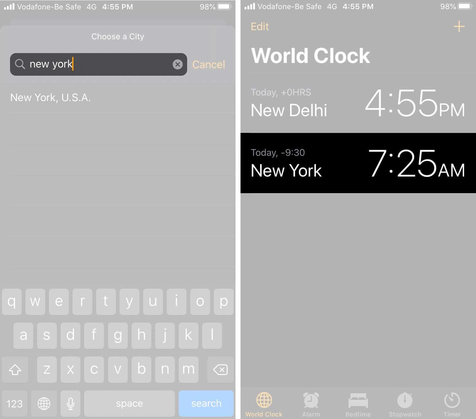 Add World Clock on iPhone