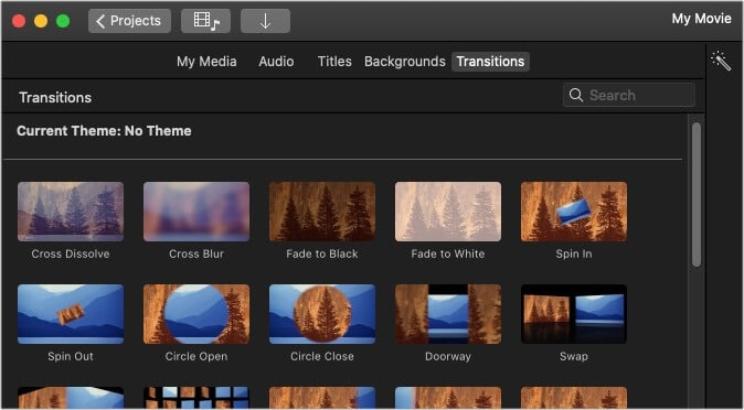 Add transitions between clips in iMovie on Mac