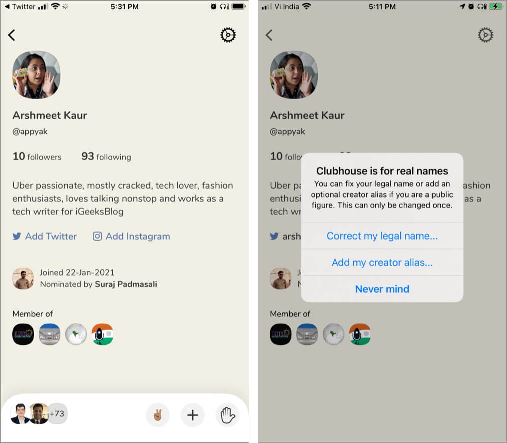 Add your Creator Name profile on Clubhouse iPhone app