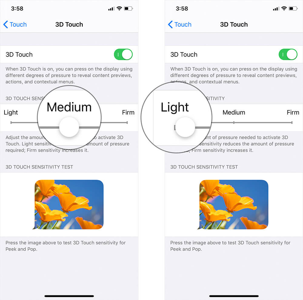 Adjust 3D Touch Sensitivity on iPhone or iPad