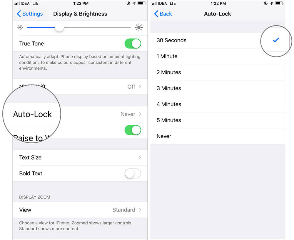 Adjust Auto Lock on iPhone