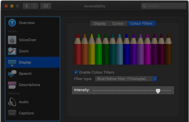 Adjust Intensity of Color Filter from under display from Accessibility Setting on Mac